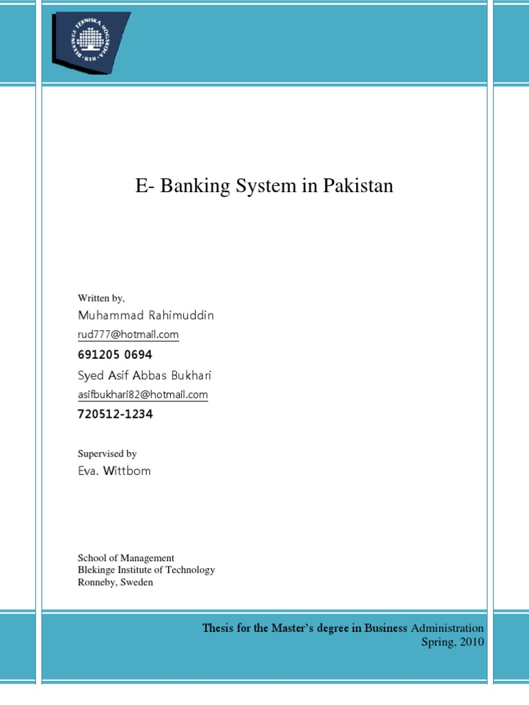 Master thesis in banking