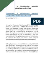 Fundamentals of Organizational Behaviour Canadian 5th Edition Langton Test Bank