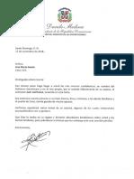 Carta de condolencias del presidente Danilo Medina a Ana María García por fallecimiento de su esposo, el cantautor Juan Lanfranco