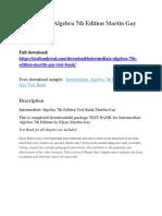 Intermediate Algebra 7th Edition Martin Gay Test Bank