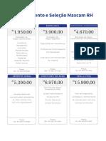 Preço Tabela Recrutamento e Seleção Maxcam RH