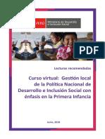 Lecturas Recomendadas del Curso Virtual Gestión local de la Política Nacional de Desarrollo e Inclusión Social con énfasis en la Primera Infancia