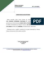 Constancia de Estudio Colegio Integral Guayana