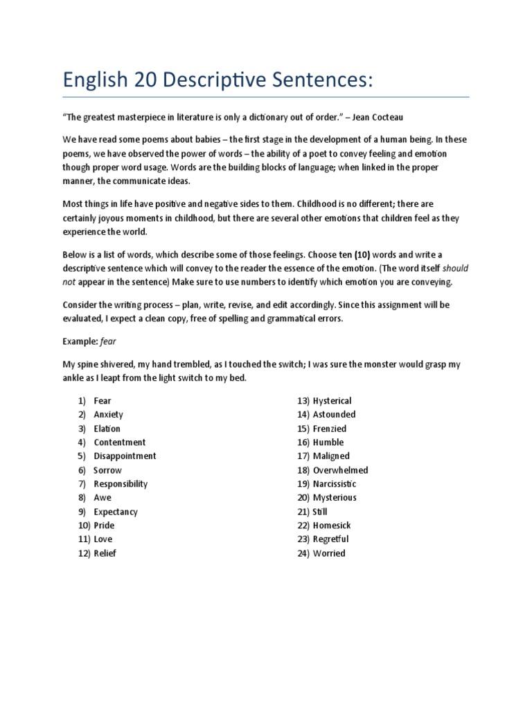 English 20 Descriptive Sentences