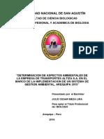 DETERMINACION DE ASPECTOS AMBIENTALES DE LA EMPRESA DE TRANSPORTES ALTIZA S.A. EN EL MARCO DE LA IMPLEMENTACION DE UN SISTEMA DE GESTION AMBIENTAL, AREQUIPA 2015