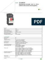 Datos de Interruptores Termomagneticos para motores Schneider GV2ME