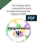 Plan de Trabajo Psiqueremos - Cepsicol 2019