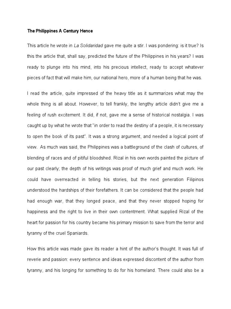 rizals essay the philippines a century hence