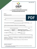 Formulario Anulación Registro Organizaciones Politicas