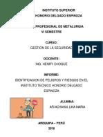 Identificacion de Peligros y Riesgos en El Instituto Tecnico Honorio Delgado Espinoza