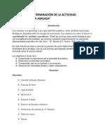 DETERMINACIÓN DE LA ACTIVIDAD ENZIMÁTICA DE LA AMILASA