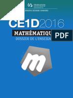 Évaluation Certificative - CE1D - 2016 - Mathématiques - Dossier de l Enseignant Et Guide de Correct (Ressource 13286)