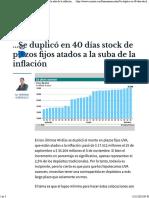 Se Duplico en 40 Dias Stock de Plazos Fijos Atados a La Suba de La Inflacion