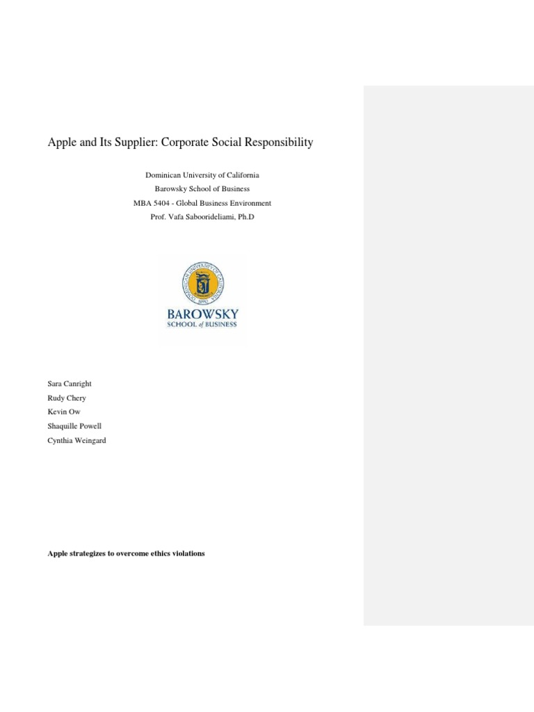 apple business ethics and social responsibility