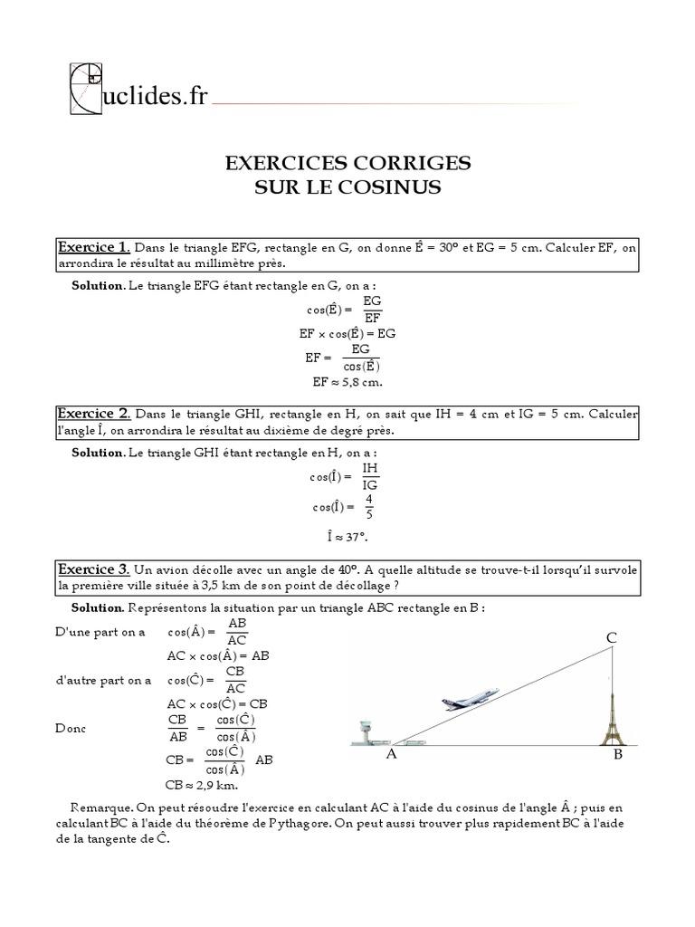 Exercices Corriges Sur Le Cosinus Geometrie Euclidienne Euclide