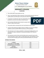 Impromptu Speaking Guidelines