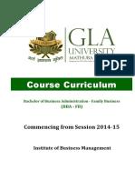 BBA (FB) Course Curriculum