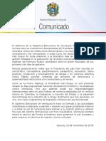 CancilleriaVE-20181120-Comunicado Rechazo Ataque Institucionalidad Colombia