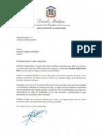 Carta de condolencias del presidente Danilo Medina a Gabriela Trujillo viuda Rubio por fallecimiento de su esposo, Arístides Rafael Rubio Ortiz