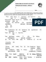 Exercício Fixação 1 Grego 2 - Pres Do Indicativo Eimi e Pronomes Pessoais
