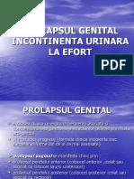 Prolapsul Genital. Incontinenta Urinara La Efort E