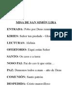 Misa de San Simón Lira