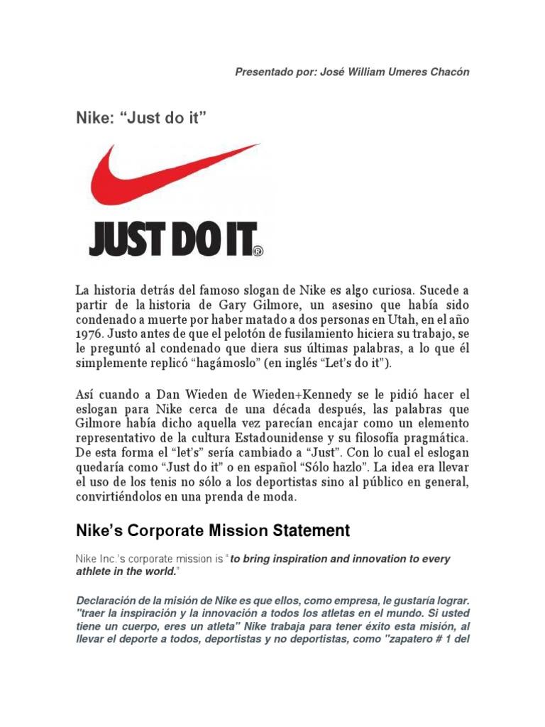 Hamburguesa Disciplina una vez  slogan, vision y mision de nike.docx   Nike   Negocios