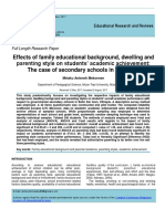 Effects of family educational background, dwelling and parenting style on students' academic achievement