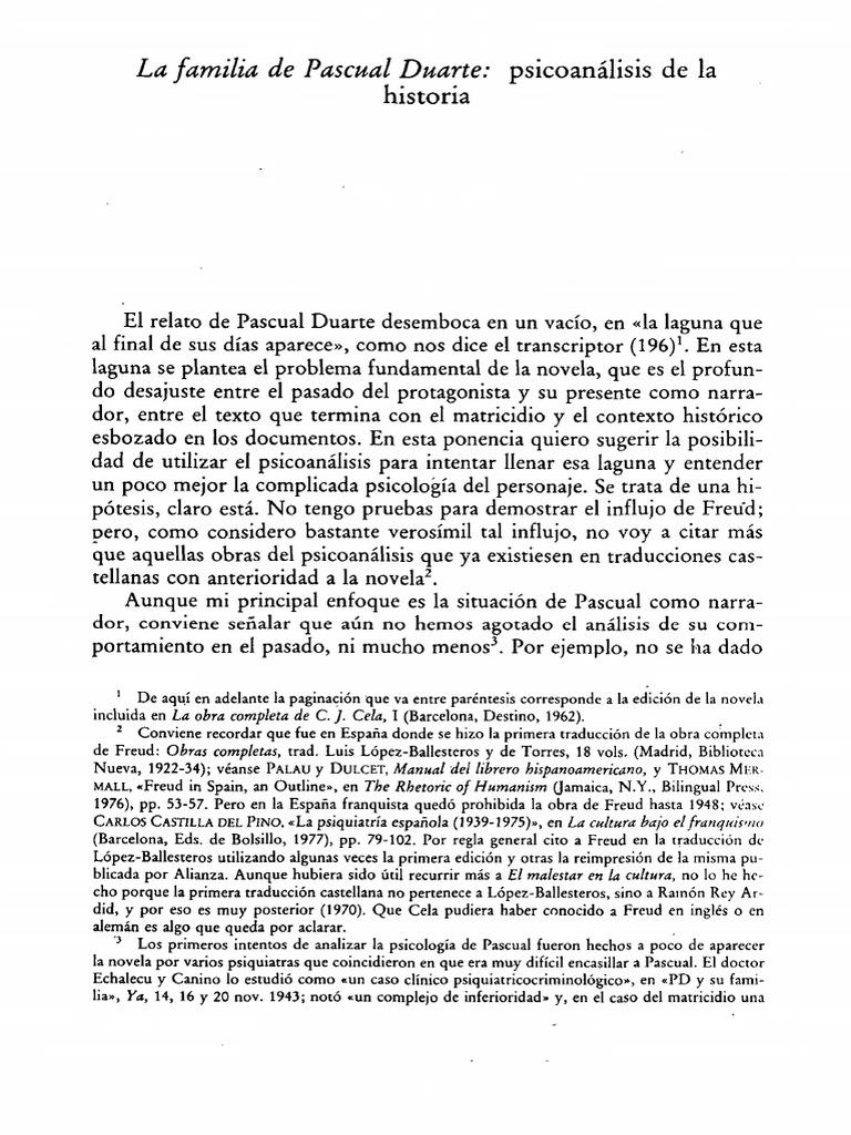 La Familia De Pascual Duarte Psicoanalisis De La Historia Pdf Neurosis Complejo De Edipo