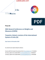 26th General Conference on Weights and Measures (CGPM) Paris for International System of Units