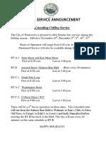 Watertown CitiBus Sunday Route 2018 Schedule