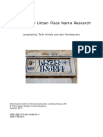 Directions in Urban Place Name Research