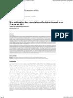 Une Estimation Des Populations d'Origine Étrangère en France en 2011