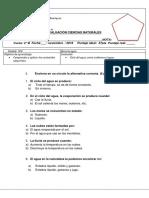 Evaluacion Ciencias Naturales Ciclo Del Agua