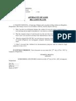 AFFIDAVIT of LOSS (LTO Lost Plate) (Charito Urdona)