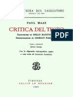 Maas, Paul, Critica Del Testo, 1990