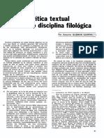 Guzmán Guerra. La Crítica Textual Como Disciplina Filológica