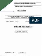 BACPRO INDUSTRIE PROC Etude Et Conduite Des Operations Unitaires 2005
