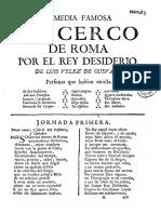 Comedia Famosa El Cerco de Roma Por El Rey Desiderio
