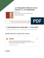 """Notas de """" La Antigüedad (Historia de Las Mujeres 1), La Antigüedad """""""