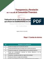 Proyecto Transparencia y Revelación precios consumidor financiero Superfinanciera Colombia Octubre 2010