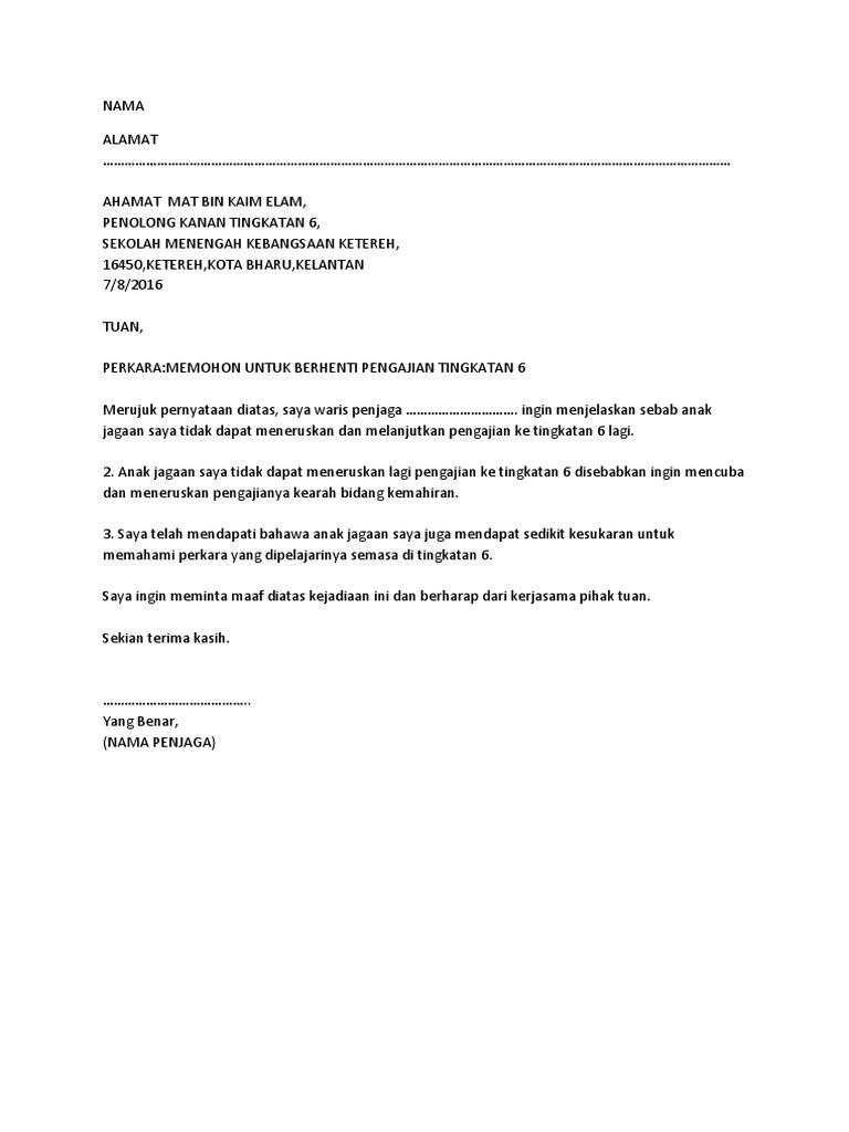 Contoh Surat Rayuan Berhenti Sekolah