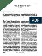 ENSAYO. La Democracia. Lo Absoluto y Lo Relativo. Octavio Paz. Vuelta-Vol. 16