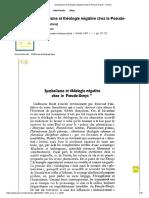 Symbolisme Et Théologie Négative Chez Le Pseudo-Denys - Persée