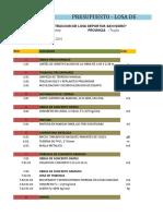 Presupuesto - Losa Deportiva San Isidro 2016 2