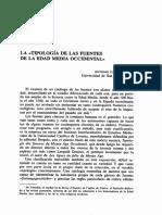 La Tipologia de Las Fuentes en La Edad Media Occidental