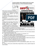 Conclusiones Del II Encuentro Sindical Macro Regional Norte de La CGTP Realizado en La Ciudad de Cajamarca