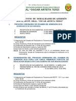 Procedimientos Admisión 2018 Oat