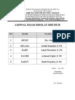 Jadwal Imam Sholat Dhuhur