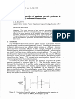 Some Statical Properties of Random Speckle Patterns in Coherent and Partially Coherent Illumination